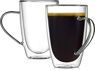 CnGlass Clear Mug Glass Milk Cup Set of 2 (10.8 oz 320ML) Modern Fashion Double Wall Insulated Coffee Cup with Handle,Strong High Borosilicate Heatproof Tea Cups.