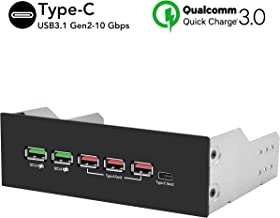 EZDIY-FAB 5.25in 10Gbps USB 3.1 Gen2 HUB and Type-C Port, Front Panel USB Hub with QC 3.0 Quick Charging