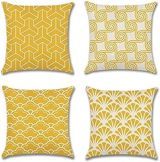 Artscope Lot DE 4 Housse De Coussin, Style Géométrique Simple Moderne Polyester et Lin Décoratif Taie d'oreiller Canapé Vo...