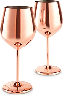 VonShef Copper Stainless Steel Wine Glasses Set of 2 16oz Shatter Proof Glasses with Gift Box