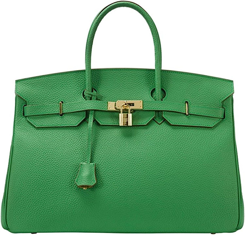 40cm Oversized Padlock Business Office Top Handle Handbags Bamboo Green