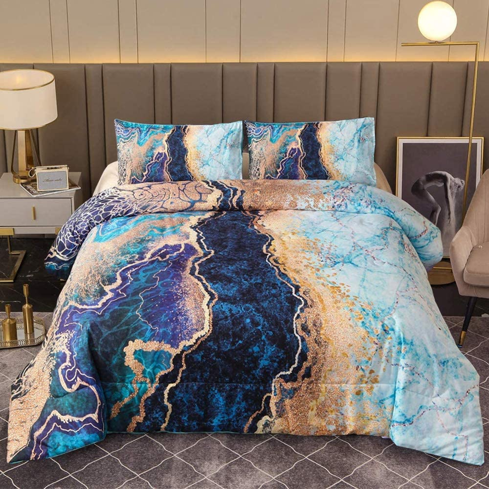 Sisher Marble Comforter Set 1 Max 88% OFF Twin-2pcs Blue Pillow Special price