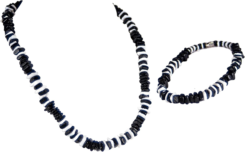 BlueRica 2 Piece Set ~ Black Coconut Chips & Puka Chip Shells Necklace & Anklet