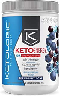 KetoLogic BHB Exogenous Ketones with Caffeine | Supports Keto Diet, Weight Management, Energy & Focus | Ketone Powder Pre-Workout Supplement, Beta-Hydroxybutyrate BHB Salts | Blueberry Acai - 30 Serve