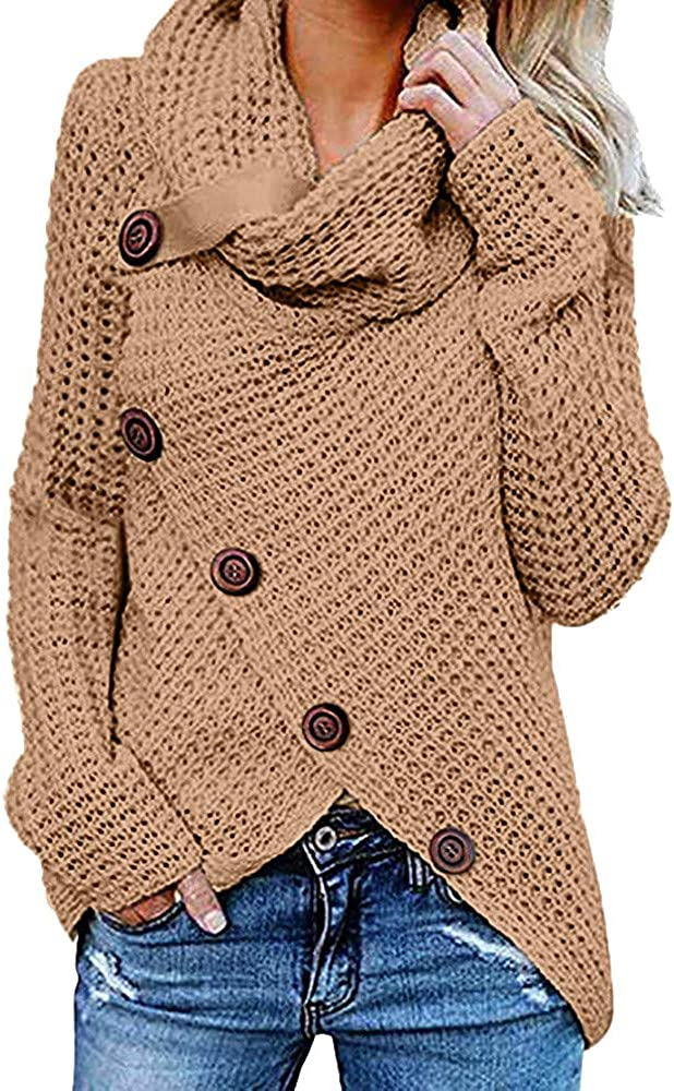 JOFOW Turtleneck Sweater,Solid Cross Slit Front Button Pullover Irregular Long Sleeve Knit Tops Autumn Winter Warm Knitwear