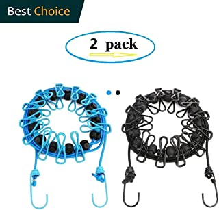 Newraturner2 Pack Portable Clothesline with 12 Clothespins, Windproof Travel Clothesline Stretchy Retractable Elastic Laundry Clothes Line for Backyard, Vacation Hotel, Balcony Clothes Drying Line