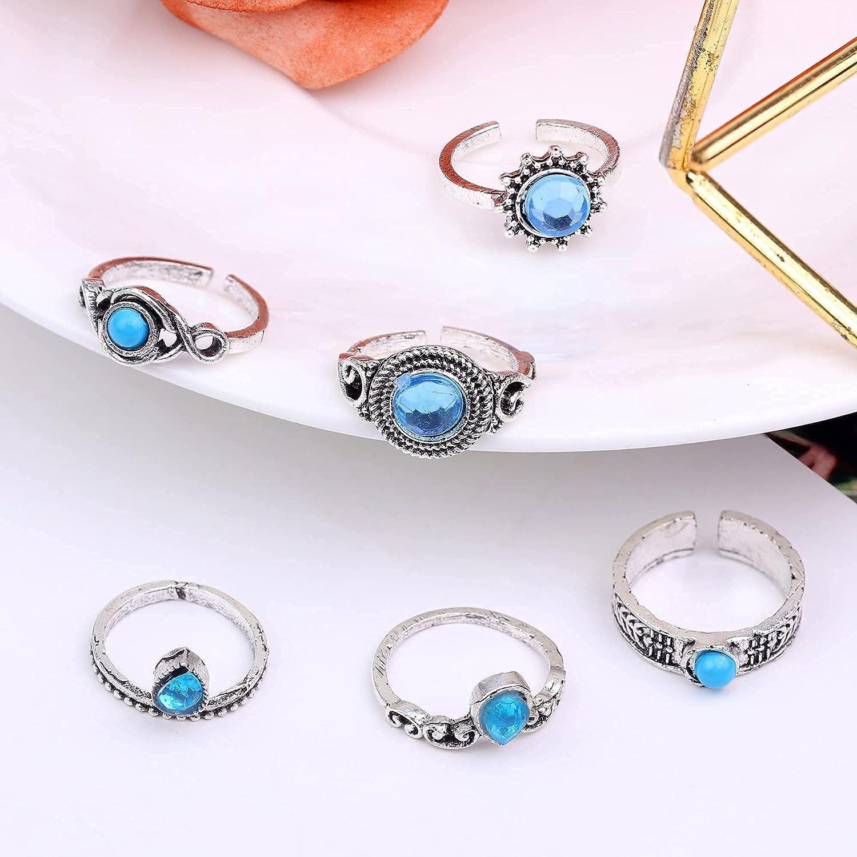Fiasaso 40 pcs Adjustable Toe Rings for Women Summer Beach Open Toe Ring Set Flower Elephant Leaf Ring Bohemian Retro Vintage Jewelery