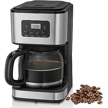 briebe Cafetera programable eléctrica de Goteo automática, máquina café de Filtro Capacidad 12 a 14 Tazas, 1,5 litros, Display Digital Hora 24h/Temporizador, 900 W, Color Negro Acero Inoxidable: Amazon.es: Hogar