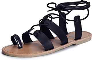 SANDALUP Tie Up Flat Gladiator Roman Sandals for Women