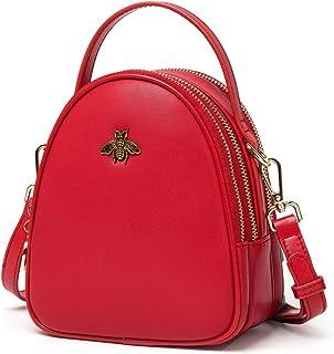 BISON DENIM Womens Small Crossbody Bag Genuine Leather Shoulder Bag Messenger Bag Handbag Purse Bee Design