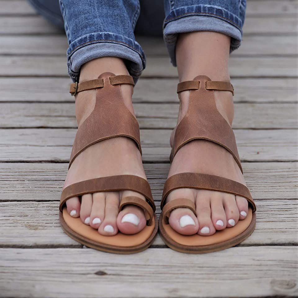 Women Gladiator Sandals Summer Toe Ring Shoes Sandals with ankle buckle, Distressed Waxed Leather (8, Distressed Brown)