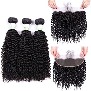 Kinky Curly Bundles With Frontal Non Remy Human Hair Bundles With Closure Brazilian Hair Weave Bundles With Closure,22 24 26 & Closure18,Natural Color,Middle Part