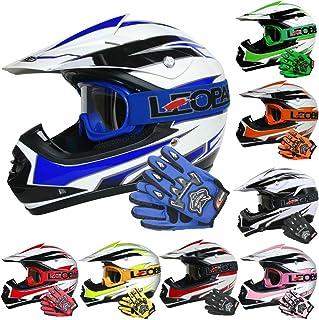 Leopard LEO-X16 Casco de Motocross para Niños y Guantes y Gafas de Moto - - Bicicleta Motocicleta ATV Patio ECE 22-05 Aprobado