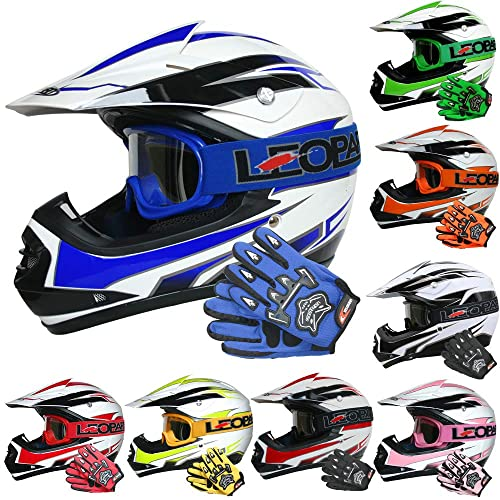 Leopard LEO-X19 PREDATOR { Kids Motocross Helmet /& Gloves /& Goggles Red XL } Child Dirt Bike Motorocycle Helmet Clothing Suit L 9-10 Yrs