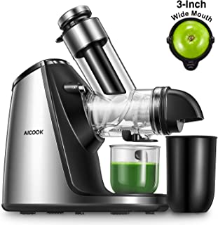 Juicer Machines, Aicook Slow Masticating Juicer Extractor 200W, Large Feed Chute, Unique Ceramic Auger Makes High Nutritiv...
