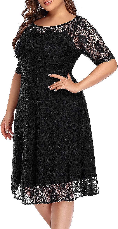 Women's Plus Size Lace Scooped Neckline Half Sleeve Cocktail Wedding Midi Dress