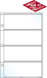 """EnvyPak Concert Ticket Sheet Protector (Refill Pages) - Top Loading, Clear Archival Safe- Holds Four 2"""" x 5 """" Stubs - Pack of 20"""