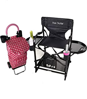TuscanyPro Portable Hairstylist Chair & Trolley Storage Cart - Perfect for Hair Stylists, Salons, Movie Sets and More - Italian Design - 10 Years Warranty - US Patented - 25 Inch Seat Height
