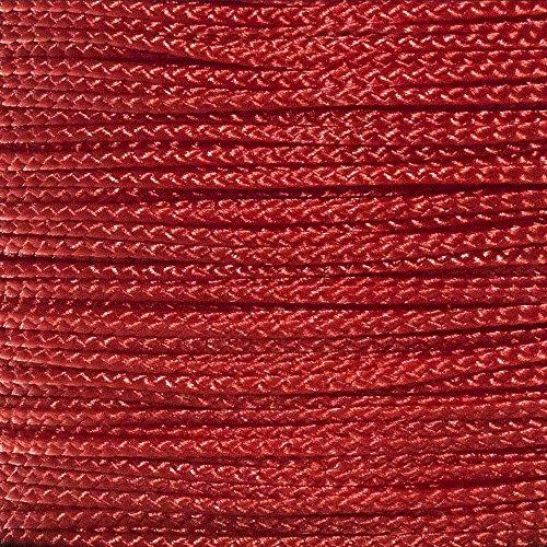 Cabo nano PARACORD PLANET: 0,75 mm de diâmetro 90 metros carretel de cabo trançado – disponível em uma variedade de cores, feito nos EUA, Vermelho