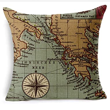 GHEDPO Colorful World Map Cotton Linen Throw Pillow Case Cushion Cover Home Sofa Decorative 18 X 18 Inch (1) 45cm