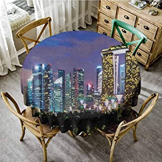 ScottDecor Table Cover Travel Singapore Cityscape at The Night Modern Architecture Urban Life East Landmark Multicolor Modern Round Tablecloth Diameter 60