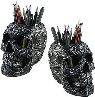 (Set/2) Skull Shaped Pencil Holder Office Desk Supplies Organizer Accessory