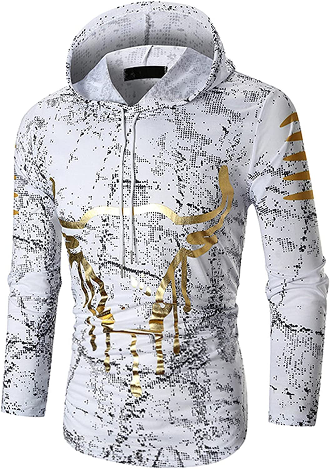 Men's Autumn And Winter Fashion Print Pullover Casual Long-sleeved Hooded Sweater Fittness Hoodie Shirts