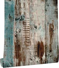 Livelynine 17.7x276 Inch Blue Distressed Wood Wall Paper Back Splashes for Kitchens Peel and Stick Wallpaper Wood Vinyl Adhesive Paper Removable Dorm Farmhouse Bedroom Living Room Decor