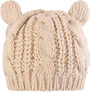 Novawo Lovely Cat Ear Beanie Hat Winter Warm Knit Hats Slouchy Beanie for women