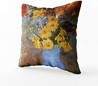 Musesh vase with Daisies and Anemones Van Gogh Decorative Cushions Case Throw Pillow Cover for Sofa Home Decorative Pillowslip Gift Ideas Household Pillowcase Zippered Pillow Covers 20X20Inch