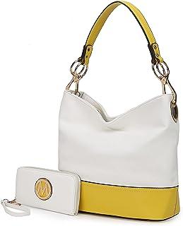 MKF Set Hobo Tasche für Damen & Wristlet Wallet - PU Leder Designer Handtasche Geldbörse - Schultergurt Lady Fashion