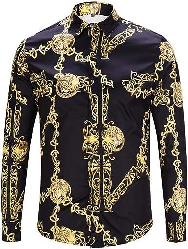 CHENS Camisa/Camisetas/Casual/Camisa de Primavera para Hombre Personalidad de la Moda Estampado de Cadena de Oro Negro Camisa de Manga Larga para ...