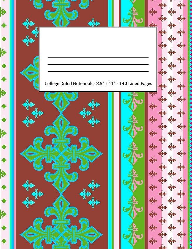 人間対人鉄College Ruled Notebook: Large Size 8.5 x 11 in 140 Blank Lined Pages Vintage Ethnic Maroon Turquoise Pattern Design Cover