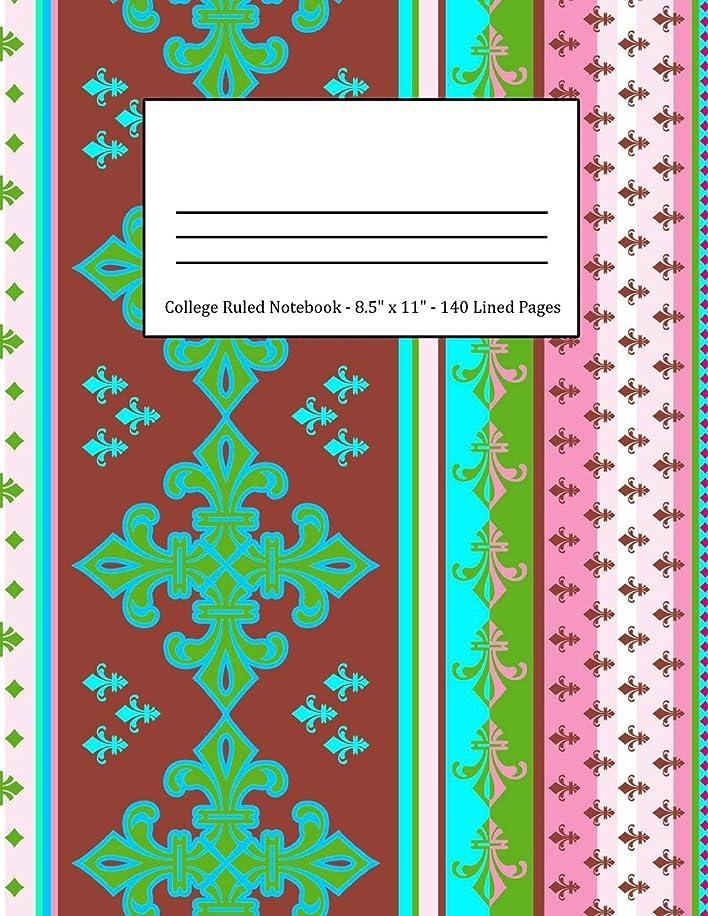 迫害前件これらCollege Ruled Notebook: Large Size 8.5 x 11 in 140 Blank Lined Pages Vintage Ethnic Maroon Turquoise Pattern Design Cover