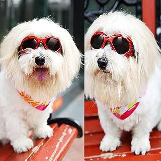 犬用 ゴーグル サングラス ワンちゃん用 ドッグ 紫外線 予防 対策 ペット用品 ドッグ用サングラス UV グッズ ペット用 めがね メガネ 6色 (赤)