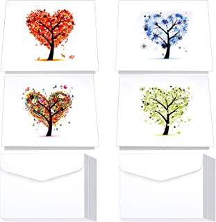 40 Sets Seasons Love Note Card Greeting Cards Blank Notecards with Tree Patterns and Envelopes for Holiday Birthday, 5 x 7 inches