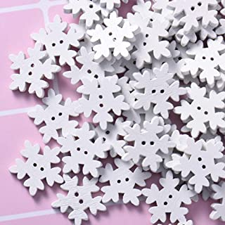 100pcs Christmas Holiday Wooden Collection Snowflakes Buttons Snowflakes Embellishments 18mm Creative Decoration Home & Garden Buttons