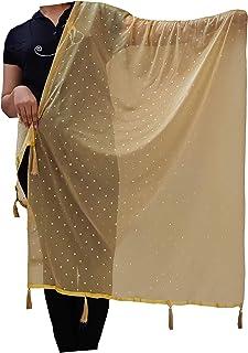 Khushboo Matching Women's Transparent silky Net stole Dupatta (60,Golden, Free Size)