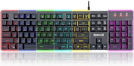 Redragon K509 PC Gaming Keyboard, 104 Key Quiet Keyboard Mechanical Feel, RGB Backlit & Edge Side Light Illumination Keyboard for Windows PC (Keyboard)