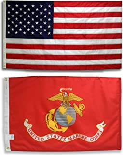 EHT Flags U.S. Embroidered American Flag & Printed USMC Marine Corps Official Military Banner Both 3x5 Ft. All Weather 200 Denier #1 Quality Nylon by Licensed Manufacturer 100% Made in USA