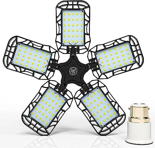 Inscrok LED Garage Light 100W, B22 Bayonet Adapter to E27 Bulb Base, Ceiling Lights Fixtures for Workshop, Warehouse,...