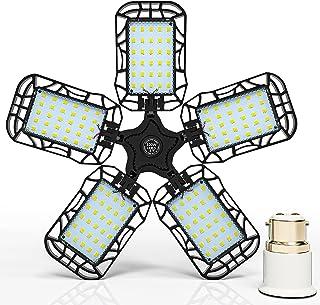 Inscrok LED Garage Light 100W, B22 Bayonet Adapter to E27 Bulb Base, Ceiling Lights Fixtures for Workshop, Warehouse, Stor...