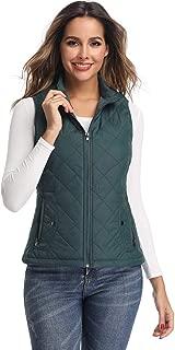 LONGKING LK Women's Padded Vest, Stand Collar Lightweight Zip Quilted Gilet Black XS