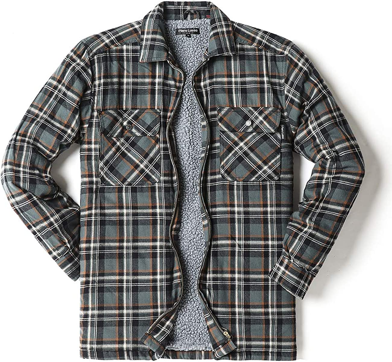 Super special price Piero Lusso Men's Big and Tall Zip Sherpa Marshall Flannel Lined Outlet SALE