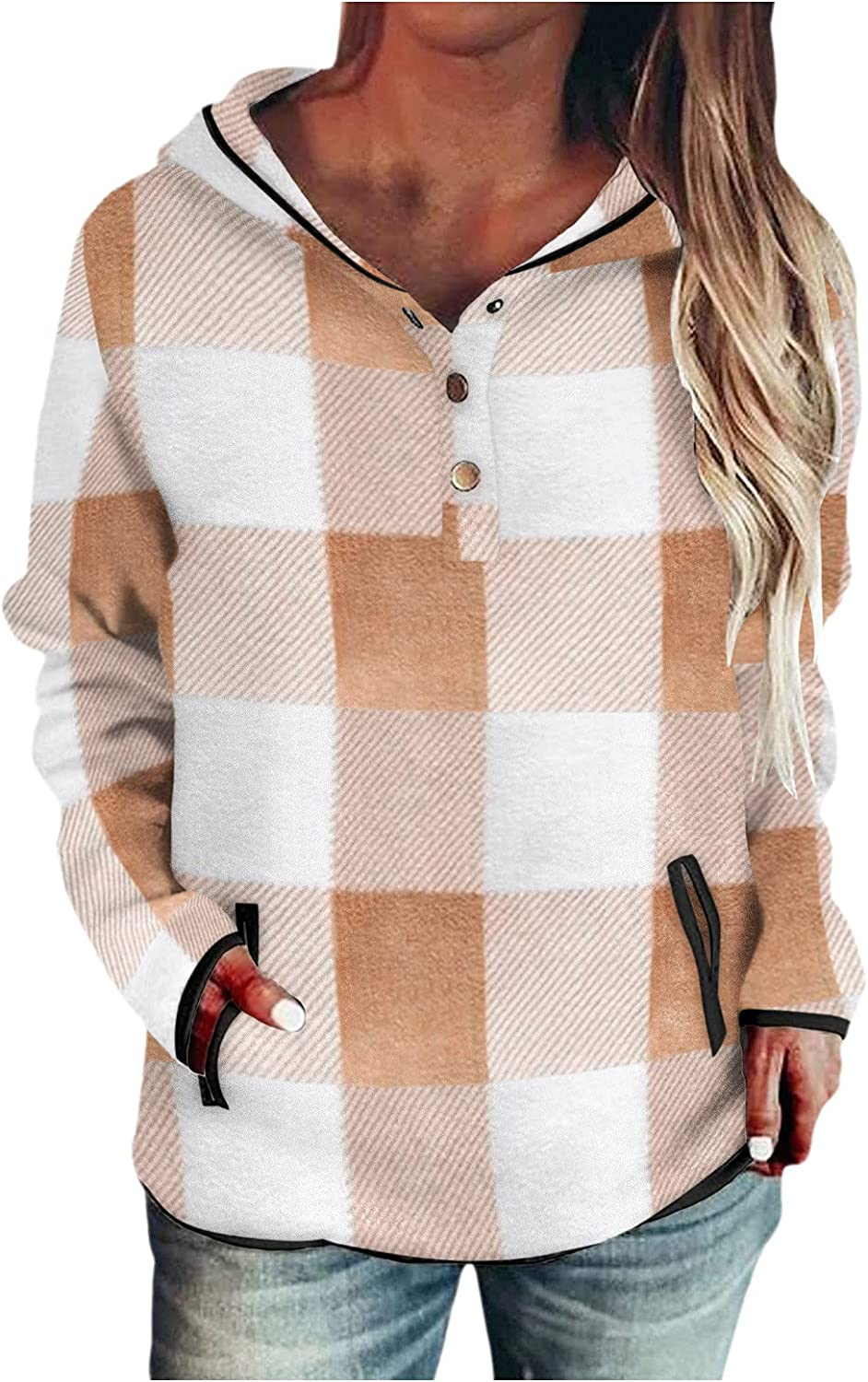 Women Tops Sweatshirt Hoodie Plaid Print Long Sleeve Buttoned V Neck Hooded Pullovers Casual Fall Blouse with Pocket