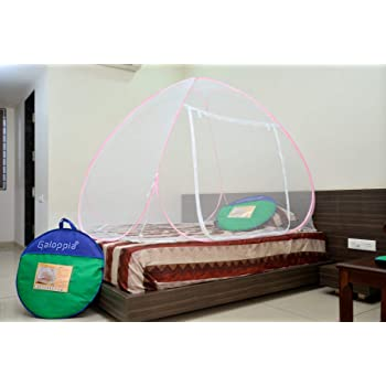 GALOPPIA ® Foldable Mosquito Net - Single Bed Size 200 cm/ 6ft X 120 cm/ 4ft X 140 cm (Pink Border)