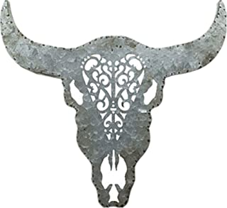 Parisloft Metal Galvanized Bull Skull Head Wall Decor 3D Faux Cow Skull Sculpture Decoration Bull Skull Decor Wall Art for Bedroom, Bathroom, Office, Rustic Wall Decor and Xmas Gifts 20''x1.1''x18''
