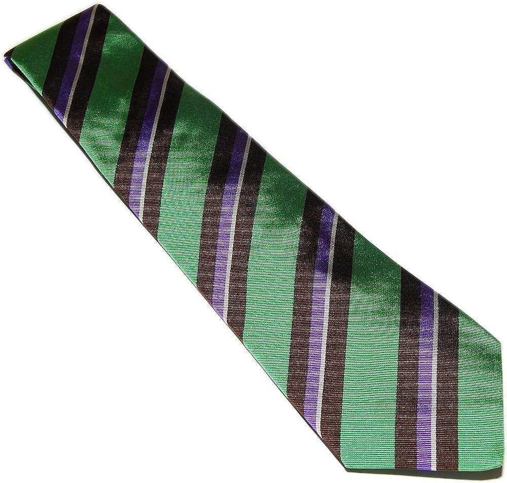 Ralph Lauren Purple Label Handmade Stripe Silk Silk Dress Tie Italy Brown Green