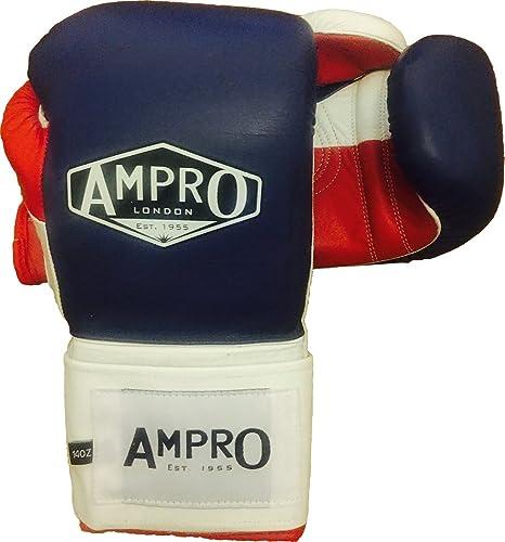 AMPRO Mirage V2Professional Velcro Gants d'entraîneHommest Bleu Marine Blanc Rouge