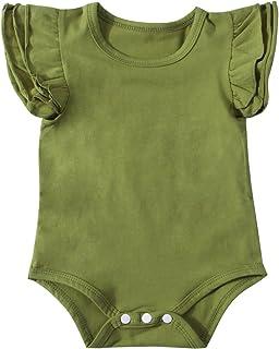 9eff61d02435 Minesiry Infant Baby Girl Basic Ruffle Short Sleeve Cotton Romper Bodysuit  Tops Clothes